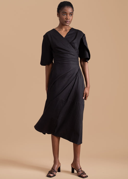 Clay Pot Sleeve Wrap Dress