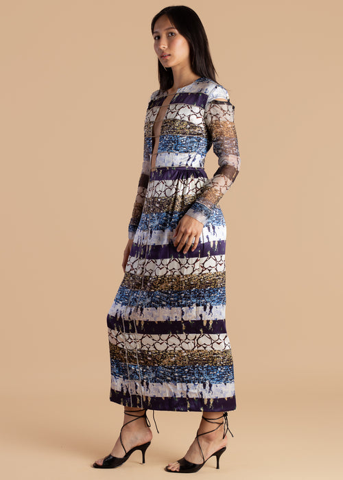 Mixed Print Midi Shift Dress
