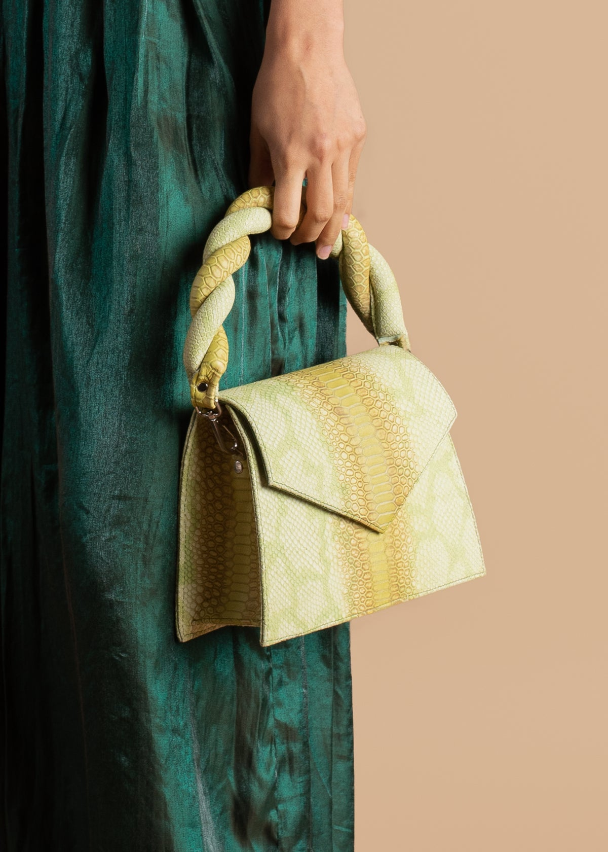 Snake Embossed Anima Iris Top Handle Zaza Grande Bag