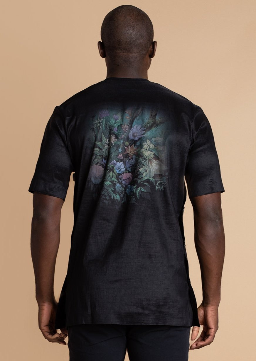 Orange Culture black Flower Boy Shirt
