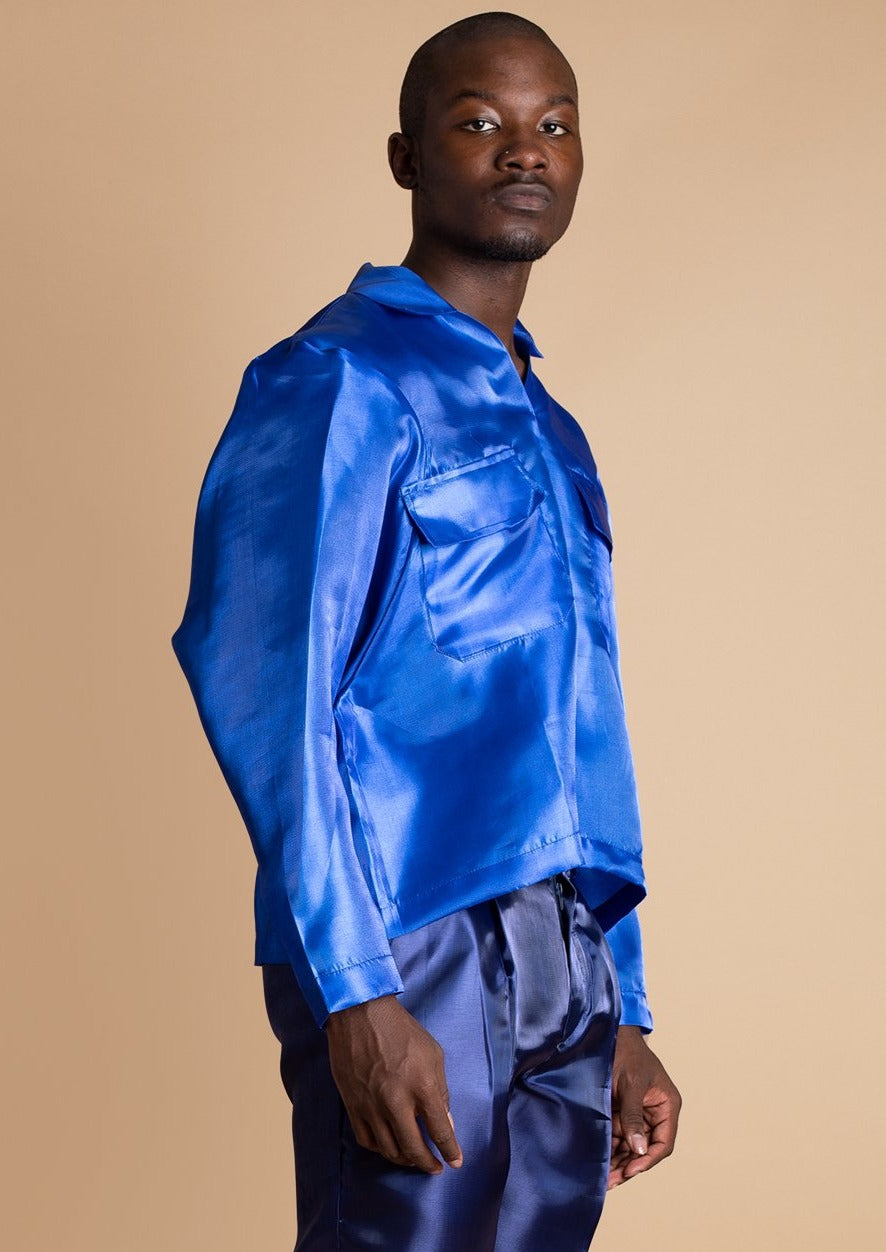 Orange Culture blue Metallic Tola Top