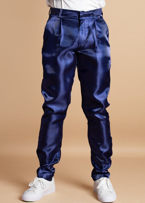 Orange Culture blue metallic Shine Shine Trousers