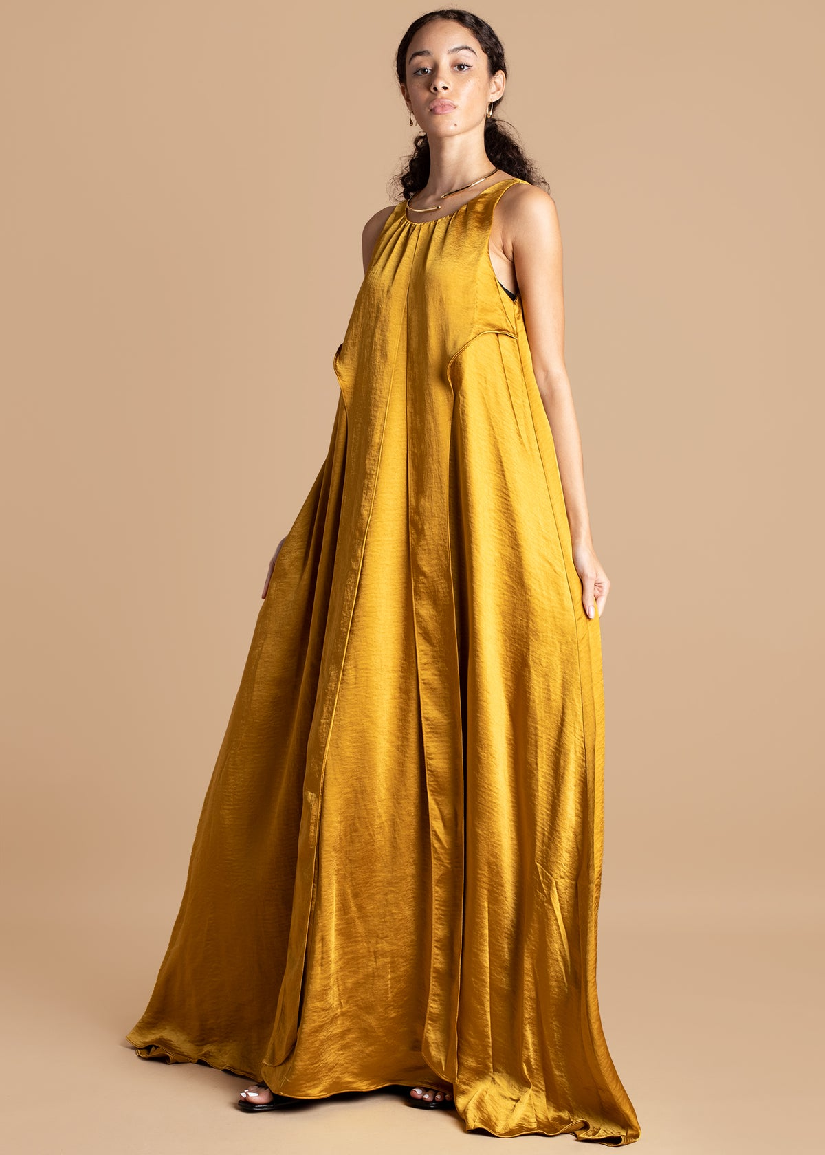 Andrea Iyamah Mustard Satin Full Length Dress