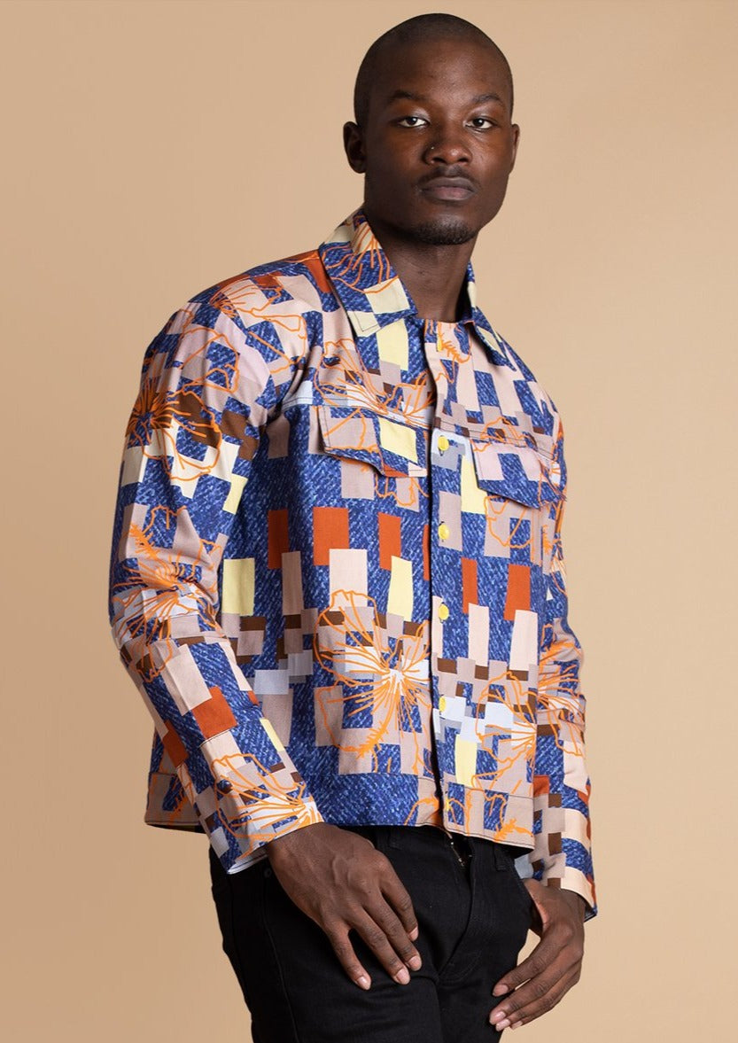 Orange Culture multicolor Grid Print Trucker Jacket