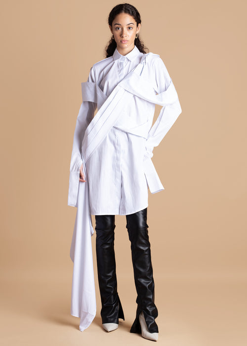 Fruche White Osagie Shirt Dress