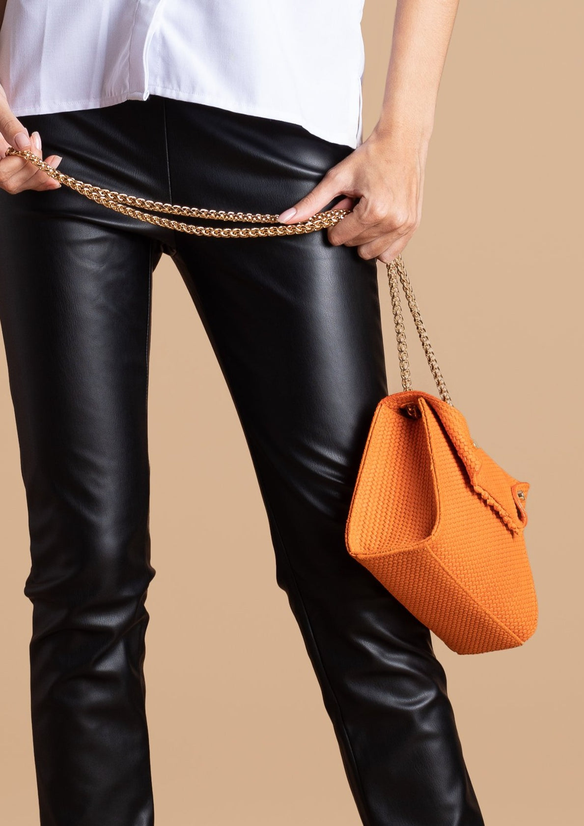 Joel Lani Orange Leather Amina Mini Bag