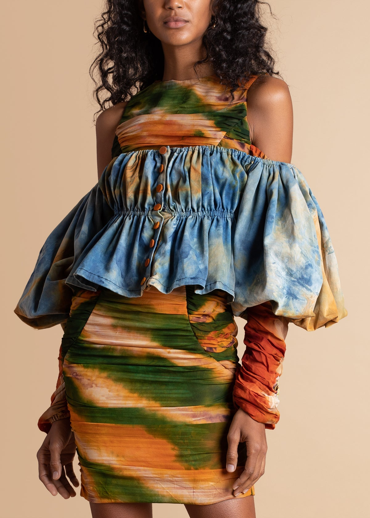 Chiffon Dress With Overlaying Ball Sleeves Crop Top by Mazelle Studio