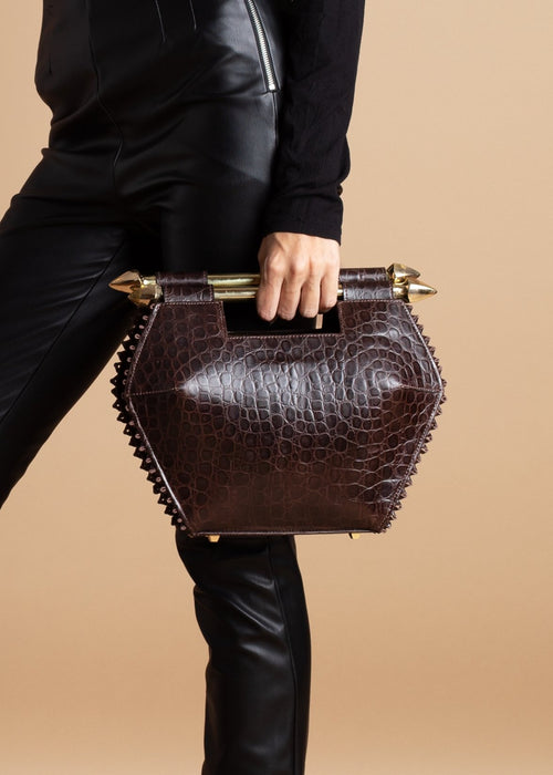 Joel Lani Dark Brown Croc Asantewa Midi Bag