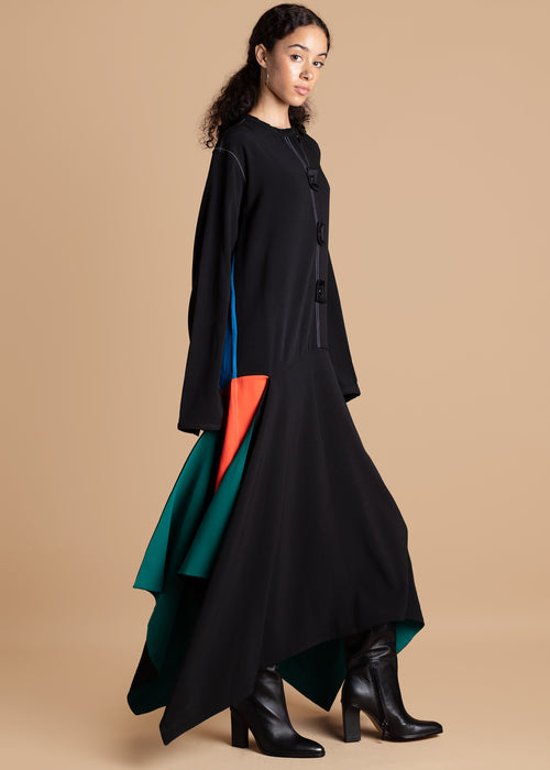 Gozel Green Long Sleeve Colorblock Dress