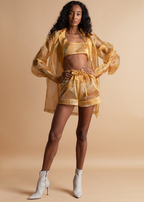 Orange Culture yellow organza Sade Two Ways Shirt