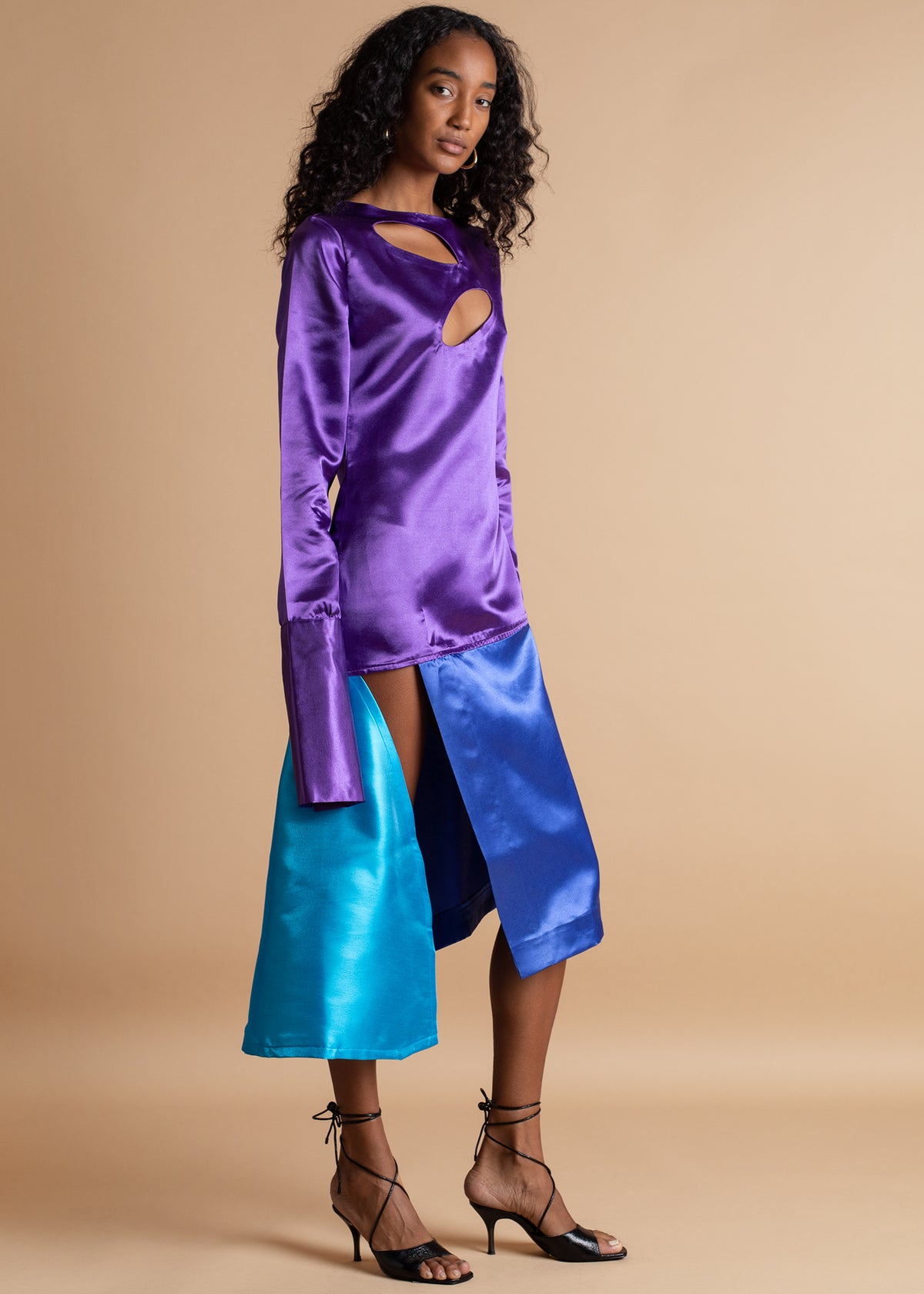 Orange Culture purple and blue Colorblock Dress