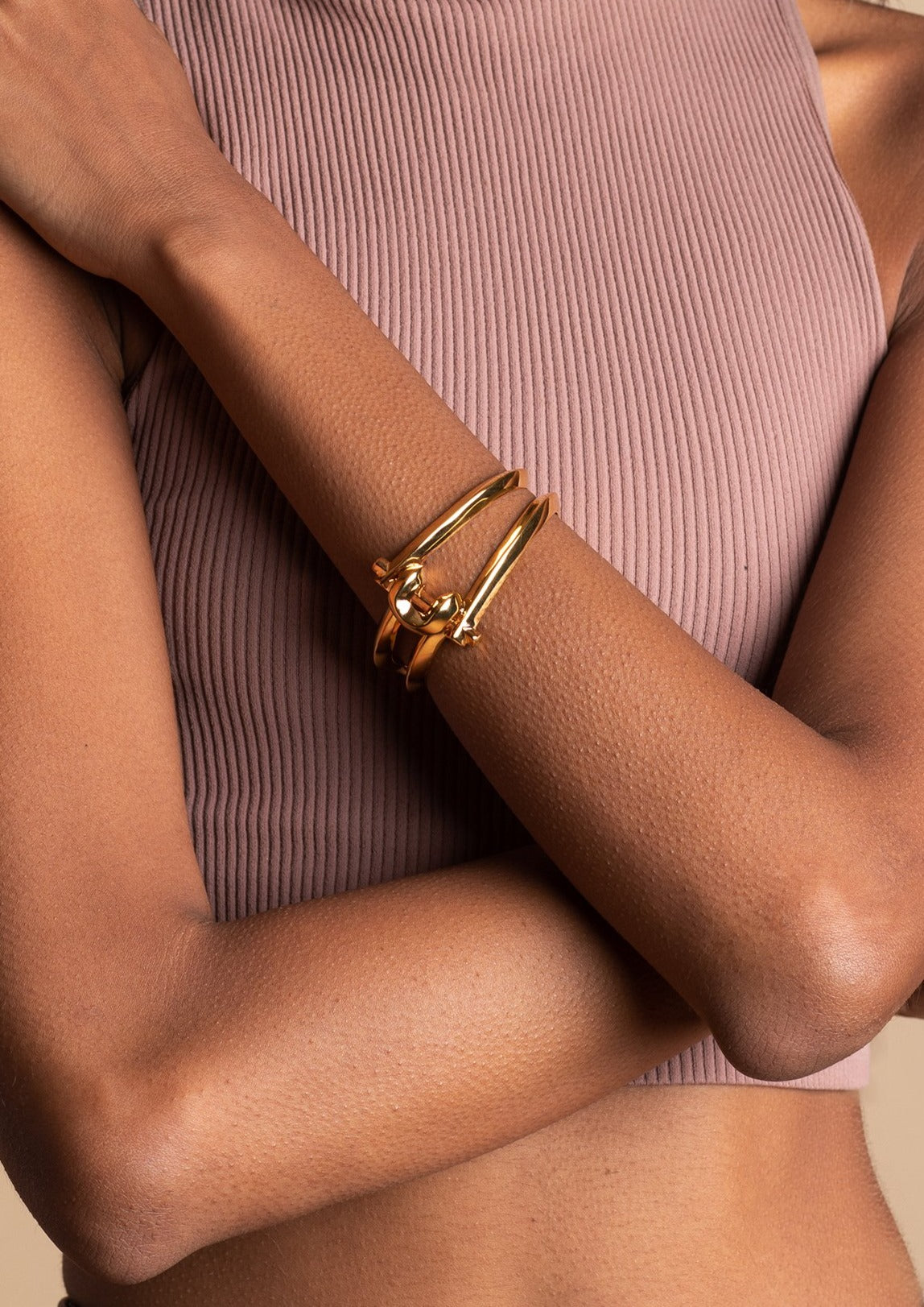 18k gold-plated brass Marcy Small Cuff