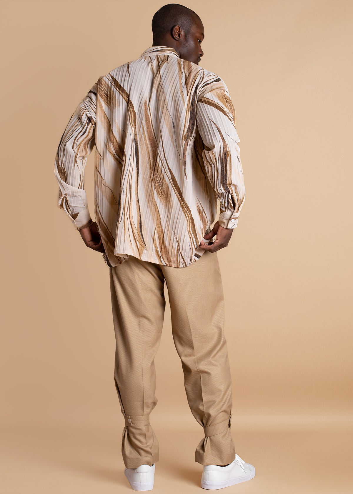 Orange Culture loose fitting Kweku Pleated Shirt
