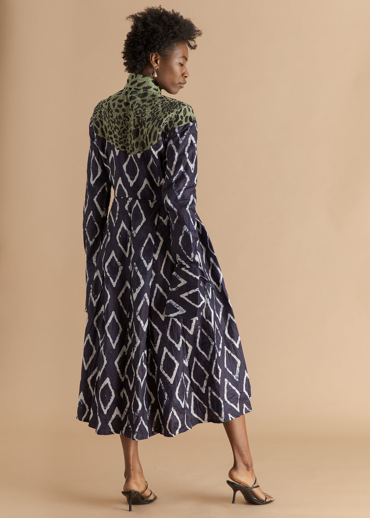 Fruché indigo adire printed midi dress