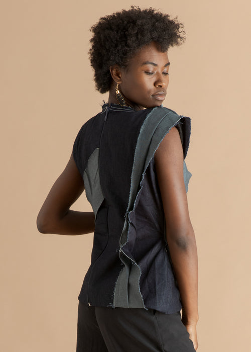 Fruche blue sleeveless recycled denim top