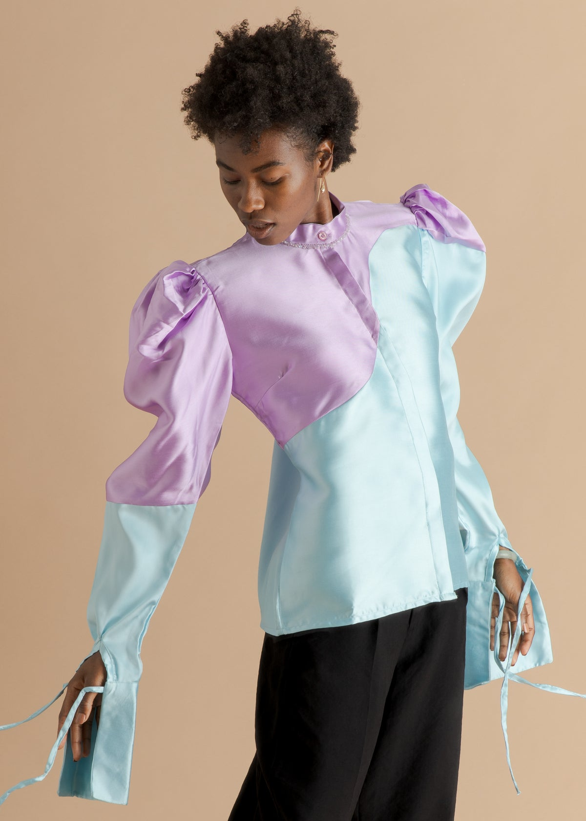 Fruché blue and purple puffy silk shirt