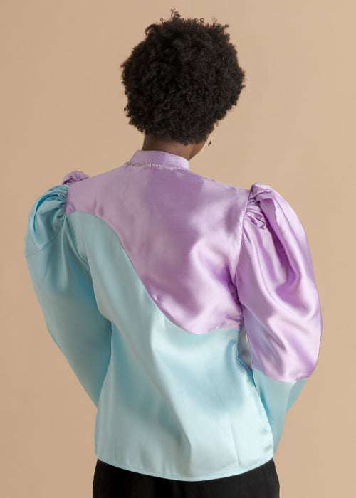 FruchŽ blue and purple puffy silk shirt