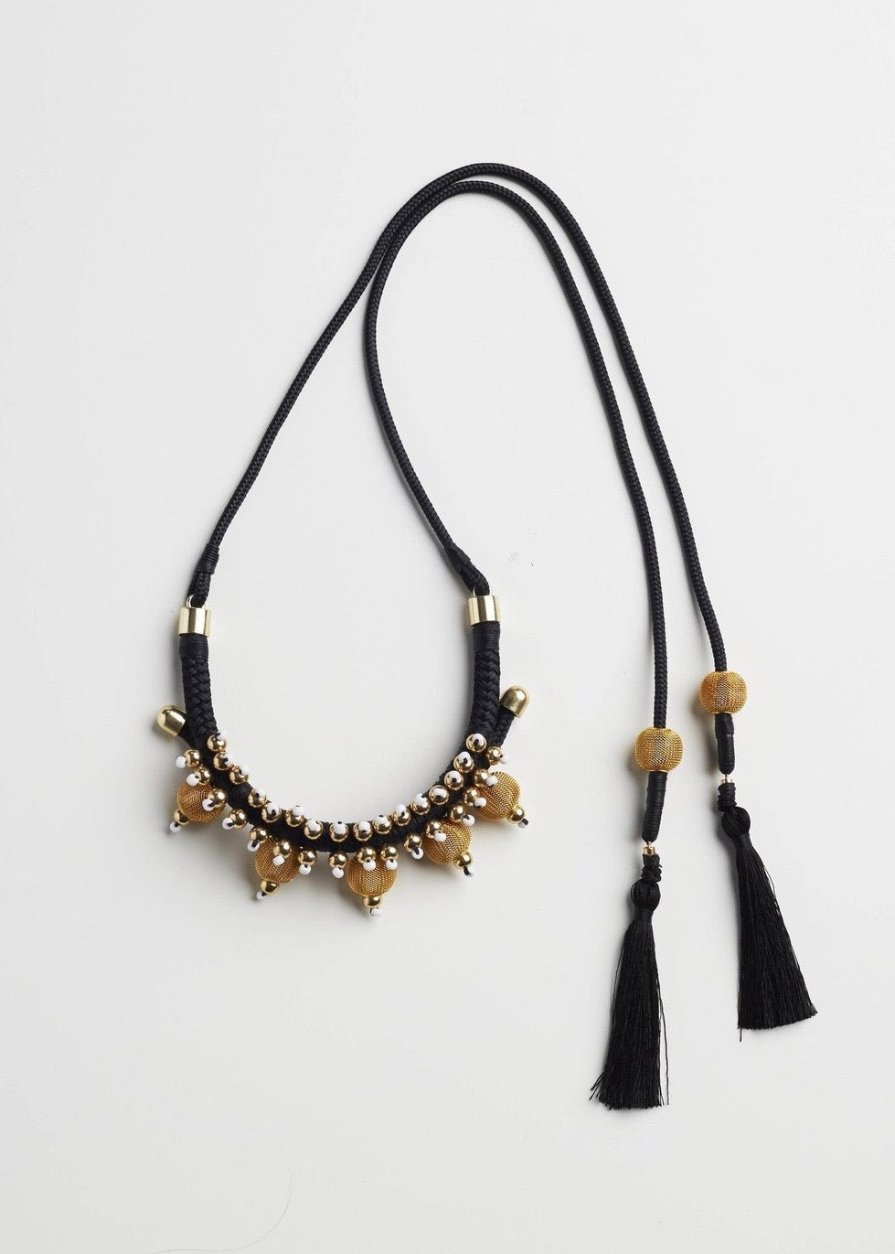 Pichulik black and gold rope necklace with gold beads