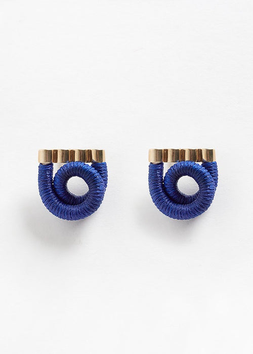 Pichulik brass and blue coiled earrings