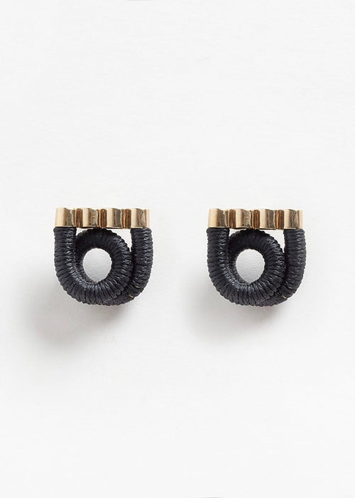 Pichulik brass and black coiled earrings