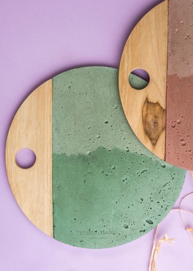 Shop Studio Badge Wood and Concrete Platters