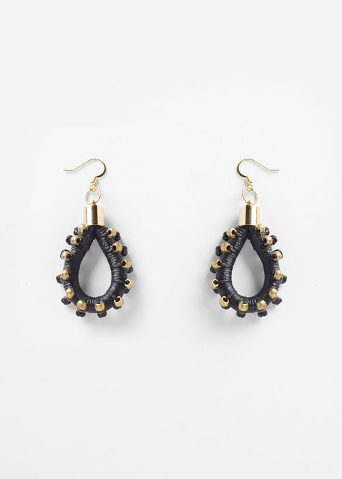 Pichulik black and gold studded hoop earrings