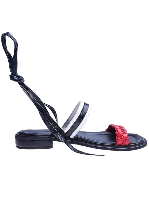 Shekudo black and red strappy tie-up sandal
