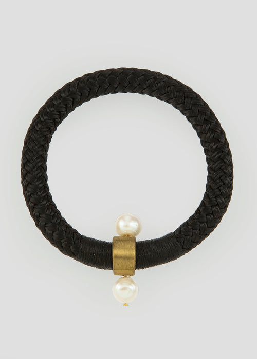 Black braided fresh water pearl cuff bracelet
