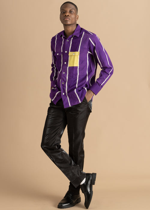 Kente Gentlemen purple and yellow shirt