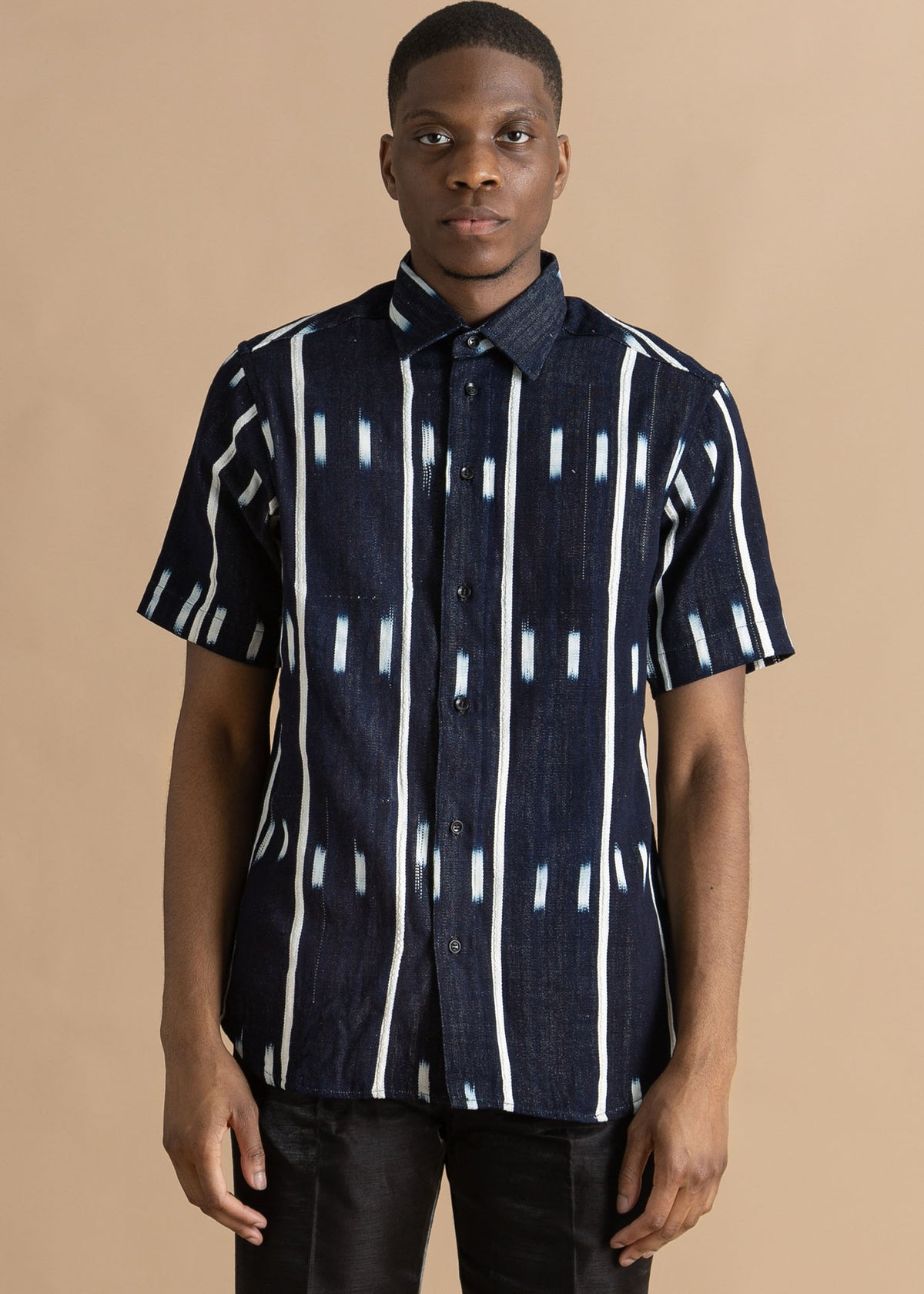 Kente Gentlemen Blue and White Button Up