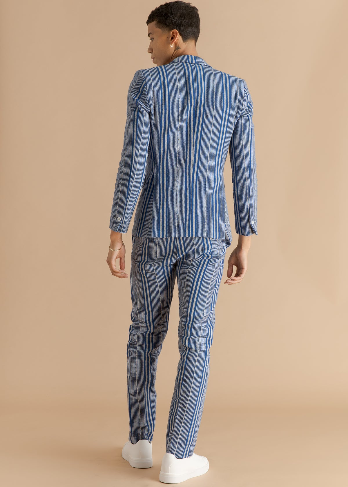 Kente Gentlemen blue striped suit