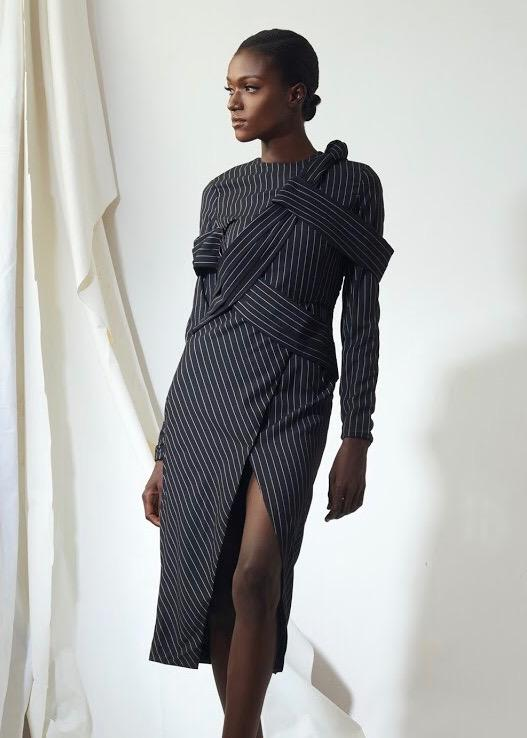 Pinstripe long sleeve dress