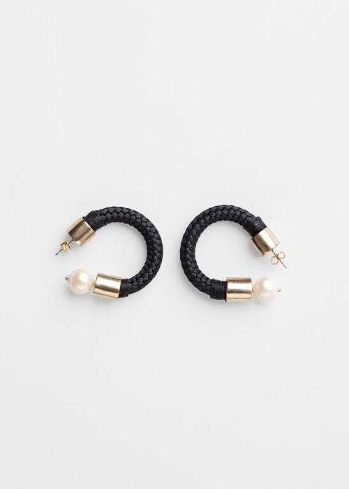 Large black braided earrings with pearls