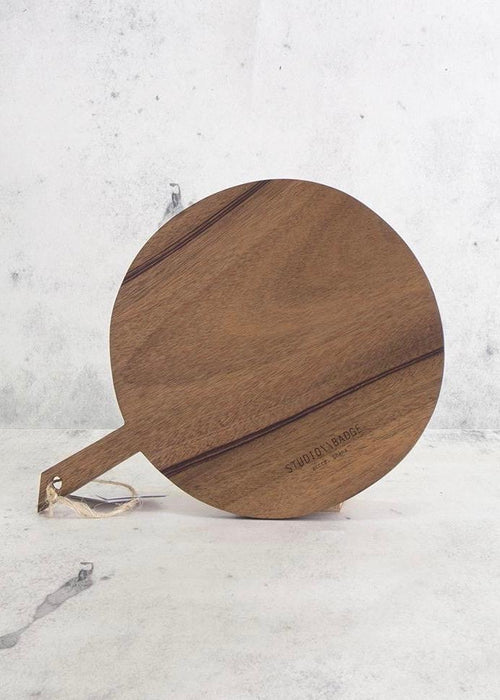 Round walnut wood serving platter