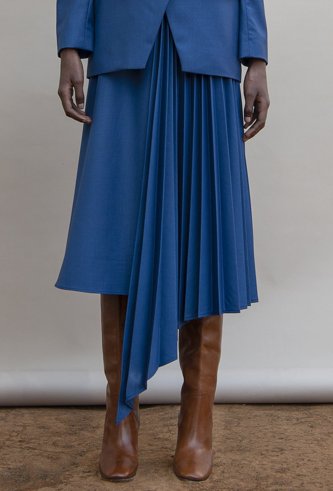 MmusoMaxwell admiral blue side pleated skirt