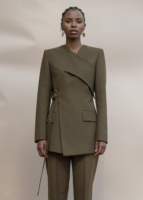 MmusoMaxwell olive tailored wrap jacket