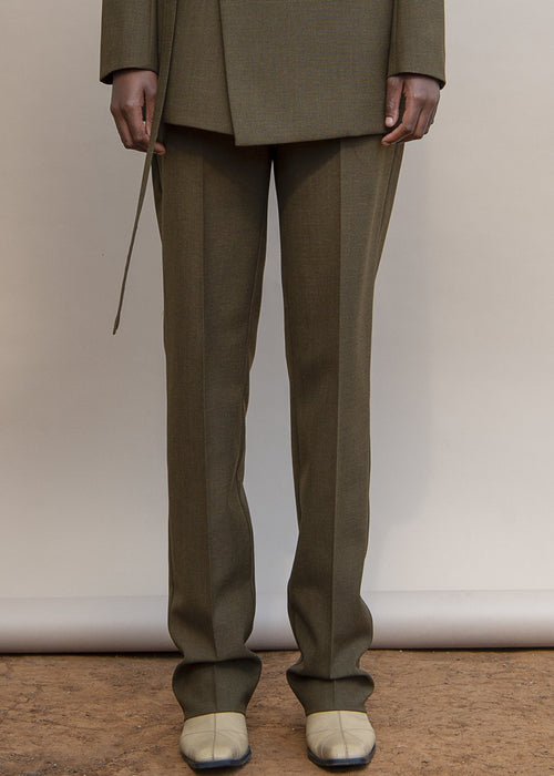 MmusoMaxwell olive tailored wool pants