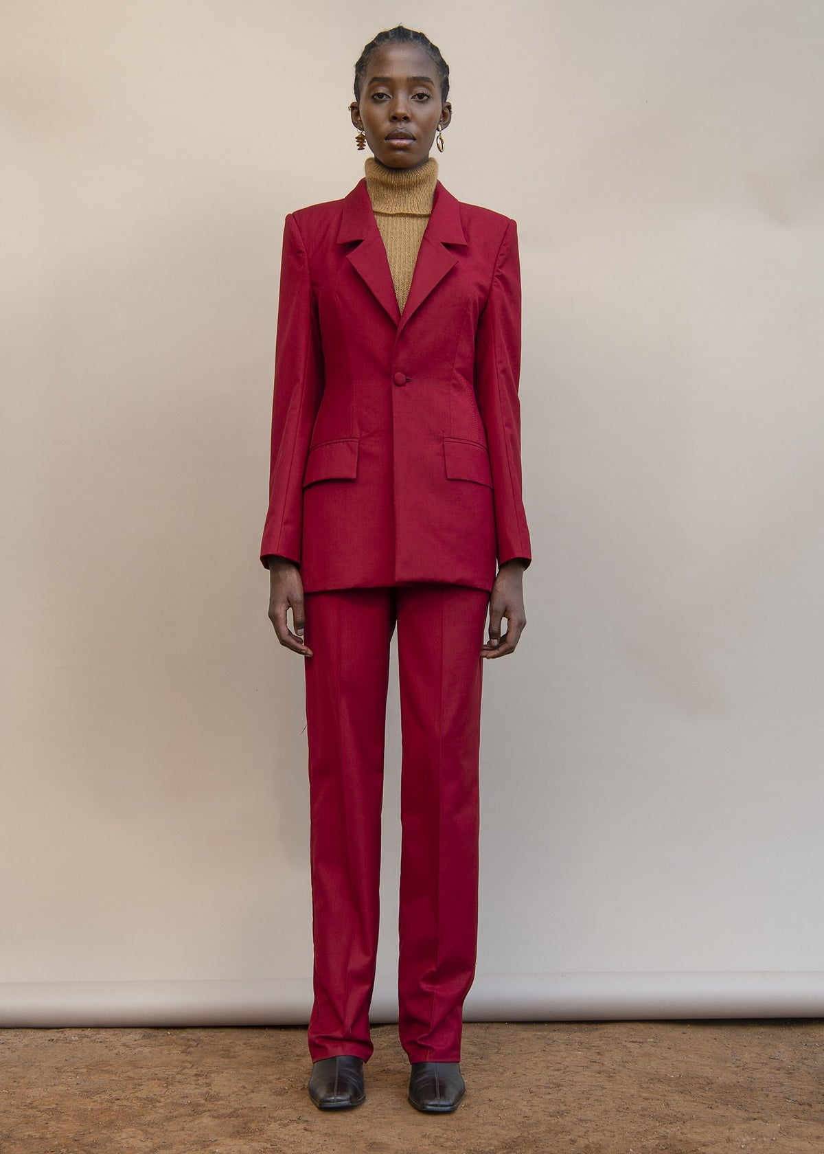 Red Slim Tailored Pants