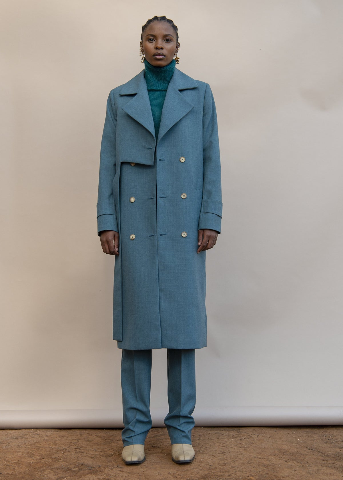 MmusoMaxwell cadet blue wool layered trench coat