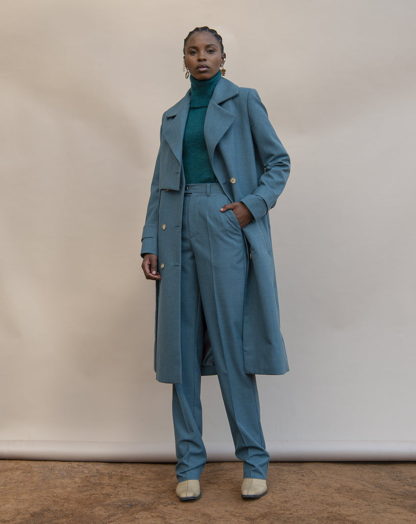 Shop the MmusoMaxwell Cadet Blue Wool Layered Trench Coat at The Folklore