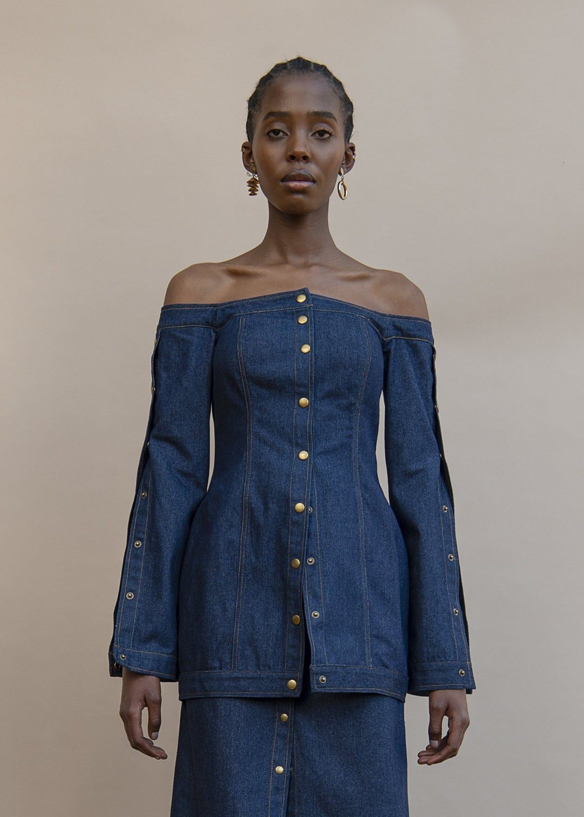 MmusoMaxwell off the shoulder cotton denim top