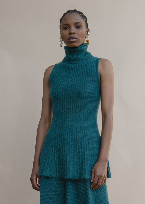 MmusoMaxwell green sleeveless mohair knit turtle neck
