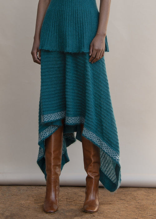 MmusoMaxwell green hankerchief mohair knitted skirt