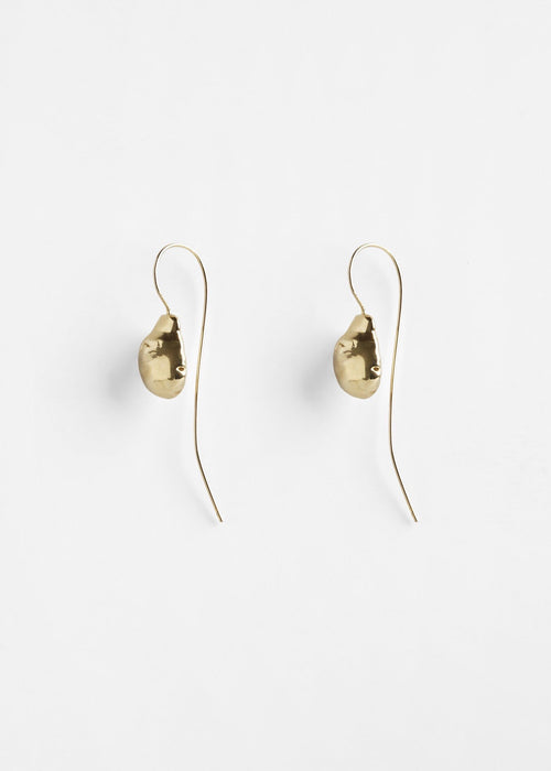 Brass moon shaped earrings by Pichulik