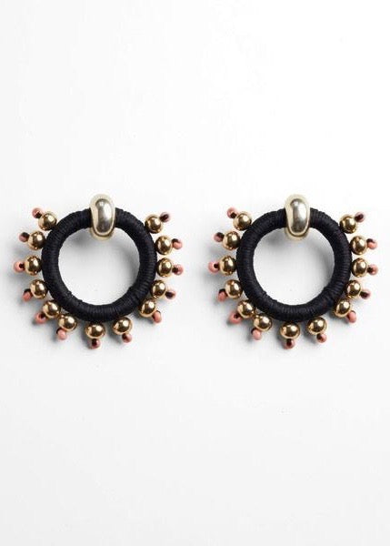 Pichulik black and gold beaded hoop earrings