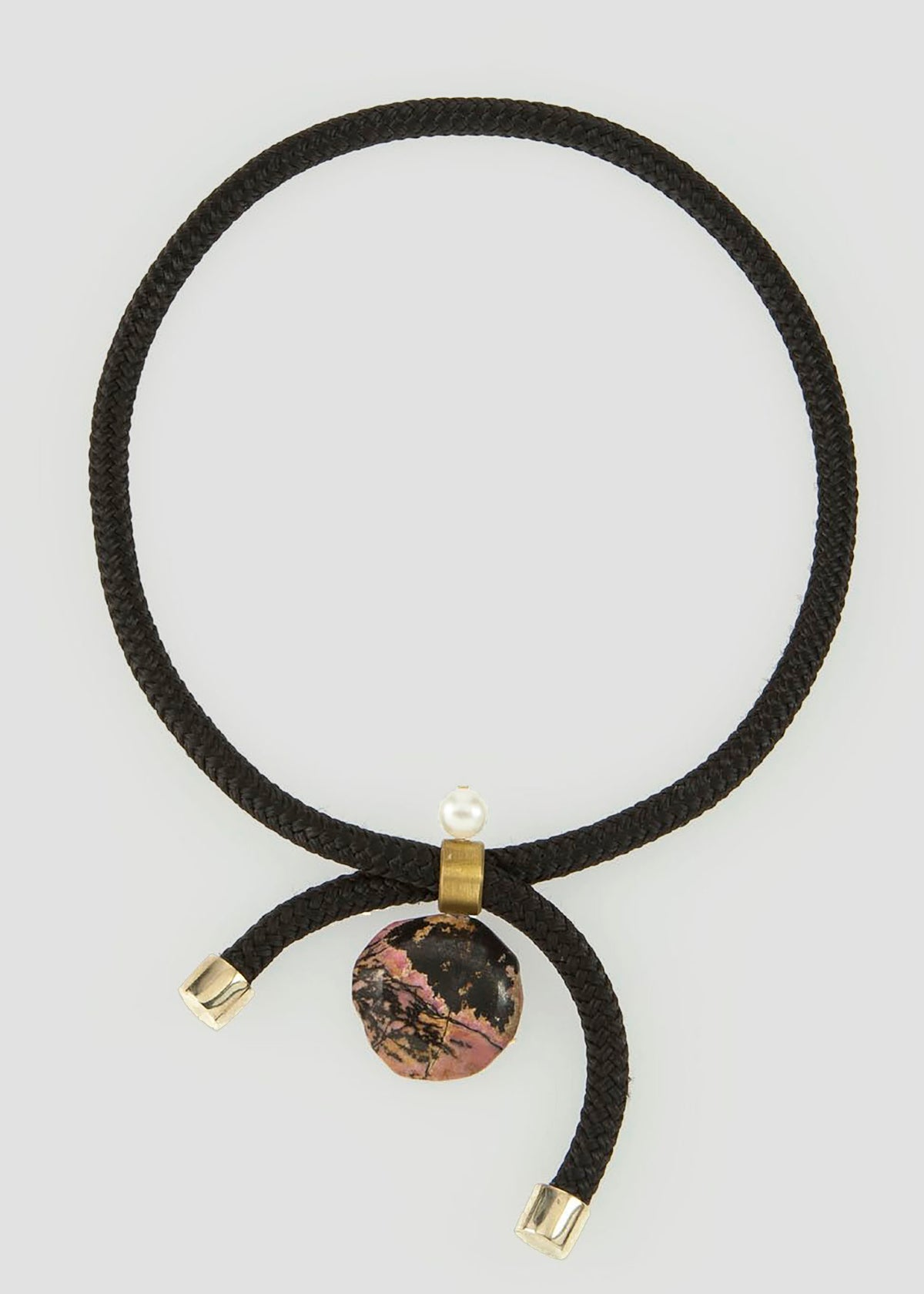 Pichulik Black braided adjustable necklace with stone