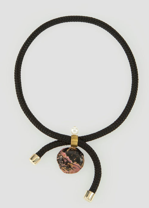 Black braided adjustable necklace with stone design