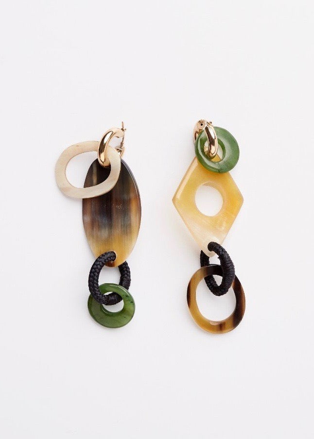 Shop the jade and sterling silver 22k gold plated earrings from Pichulik.