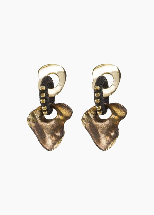 22k gold-plated brass dangling statement earrings