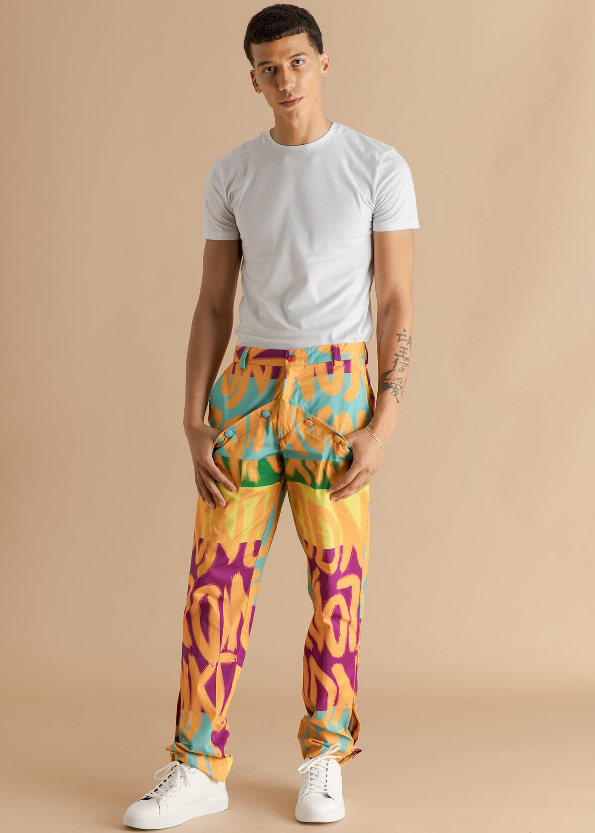 Orange Culture Orange text slim pants